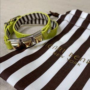 Henri Bendel Chartreuse Leather Wrap Bracelet NWT